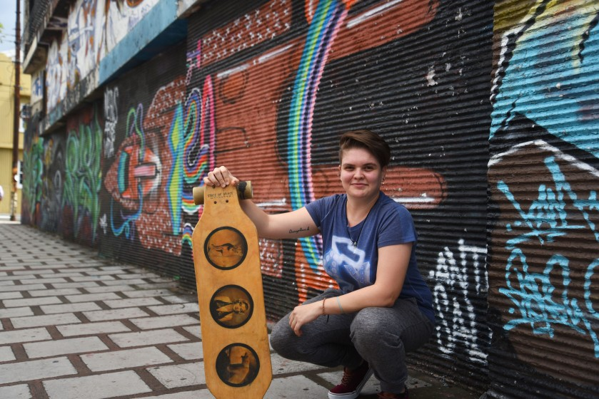 Costa Rica, San Jose –May posing with my State Of Grace longboard!