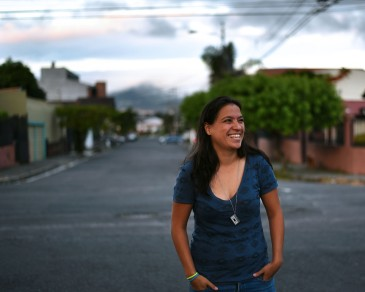 Costa Rica, San Jose –Erika, half Mexican / half Tica, fearing for her life as I shoot her on the street.