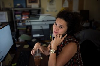 USA, Boston, MA – Michelle, hard at work!