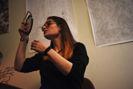 Seattle – Maia, checking herself out... I'm not even sure how to talk about Maia, our interview (even after I listened to it again), was a little bit of a surreal stream of consciousness mess... She's from Georgia, an artist (http://maiabersenadze.com/), and bi. If she could have her way she'd marry a guy and date a girl at the same time.